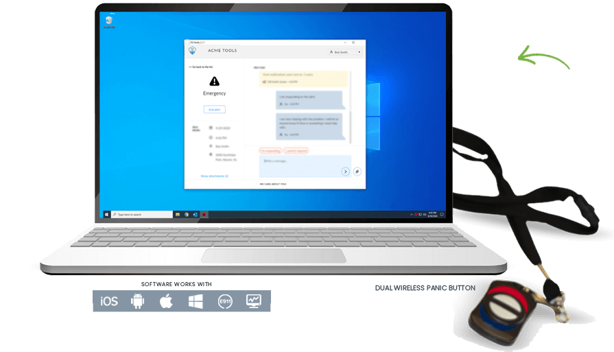 Laptop opne with TeamAlert aplication open on screen. Dual Wireless Panic Buttons on a lanyard is pictured beside the laptop. TeamAlert software works with iOS, Android, Apple, Windows, e911, and computers.