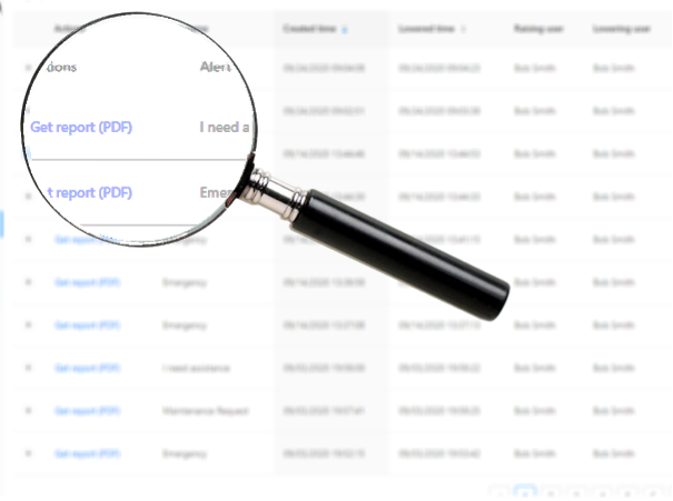 Image of a pdf of the alert history with a magnifying glass highlighting the pdf files for each alert that can be viewed and downloaded