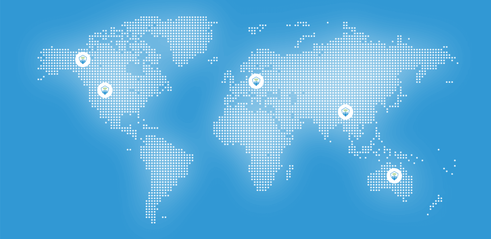 Map of the world with TeamAlert logos in Canada, United States, Europe, Asia, and Australia signifying where TeamAlert is being used across the world
