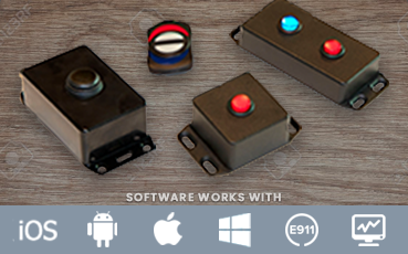 Many choices of hardware. Hardware items pictured are the High-Level Wireless Panic Button, Silent Panic Button, Wireless Panic Button, and USB Powered Panic Button. TeamAlert Software works with iOS, Android, Apple, Windows, e911, and computers